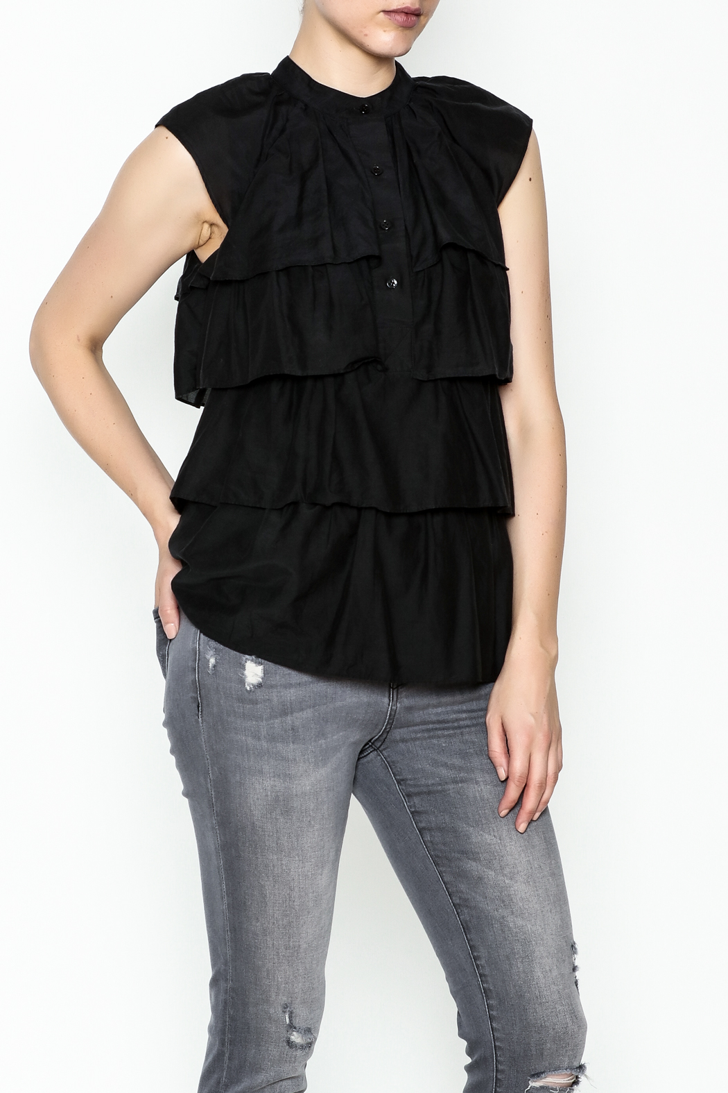 BCBG Max Azria Ruffled Black Blouse - Main Image