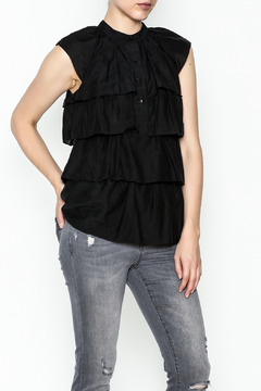 BCBG Max Azria Ruffled Black Blouse - Product List Image