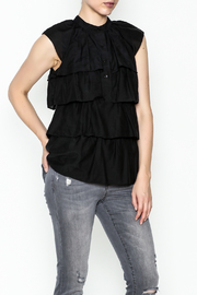 BCBG Max Azria Ruffled Black Blouse - Product Mini Image