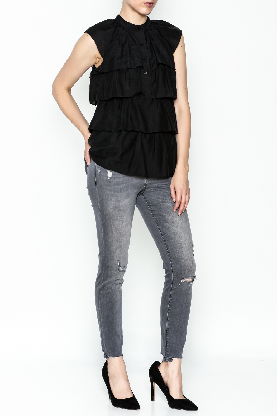 BCBG Max Azria Ruffled Black Blouse - Side Cropped Image
