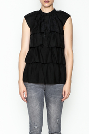 BCBG Max Azria Ruffled Black Blouse - Front full body