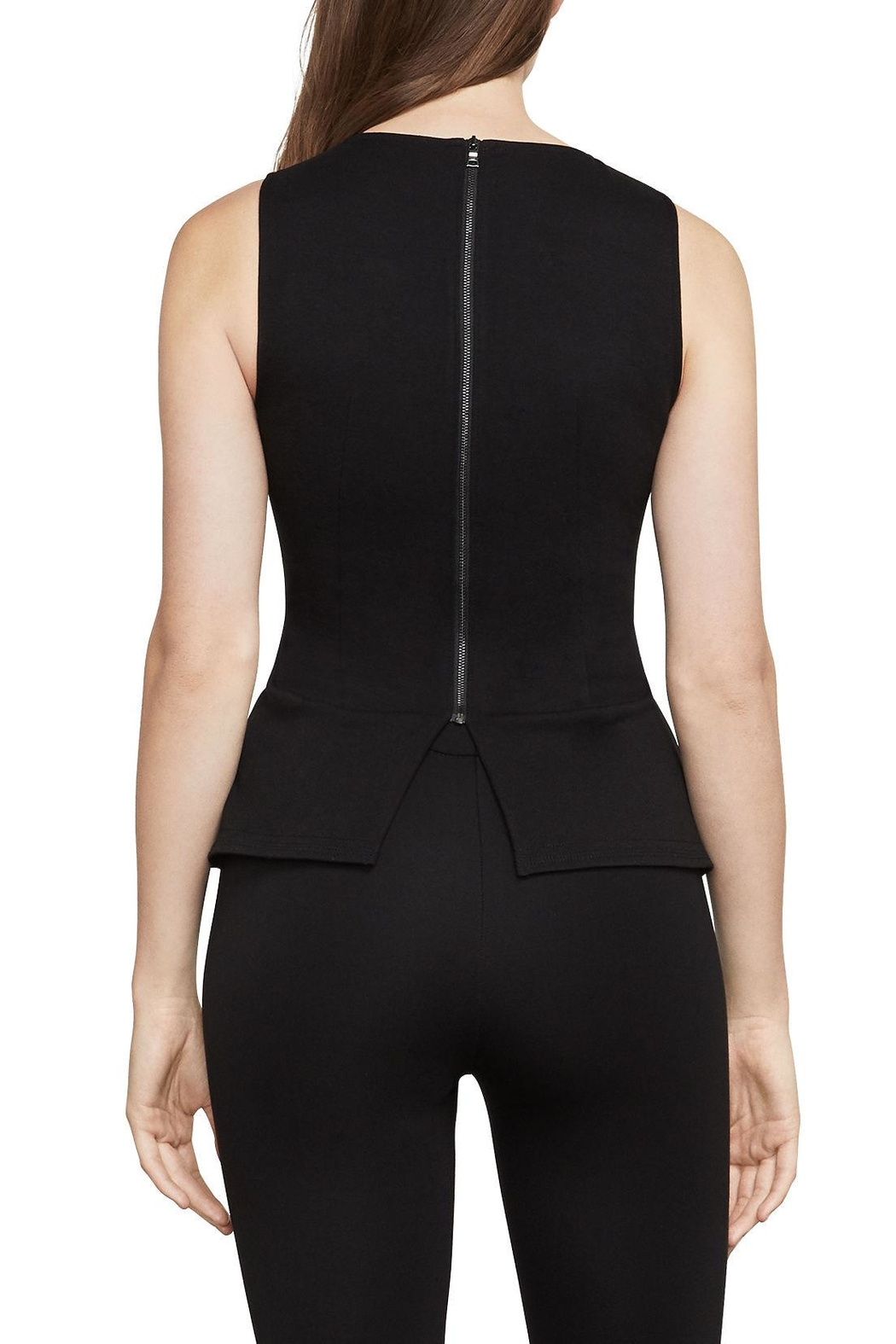 BCBG Max Azria Faux-Leather Peplum Top - Front Full Image