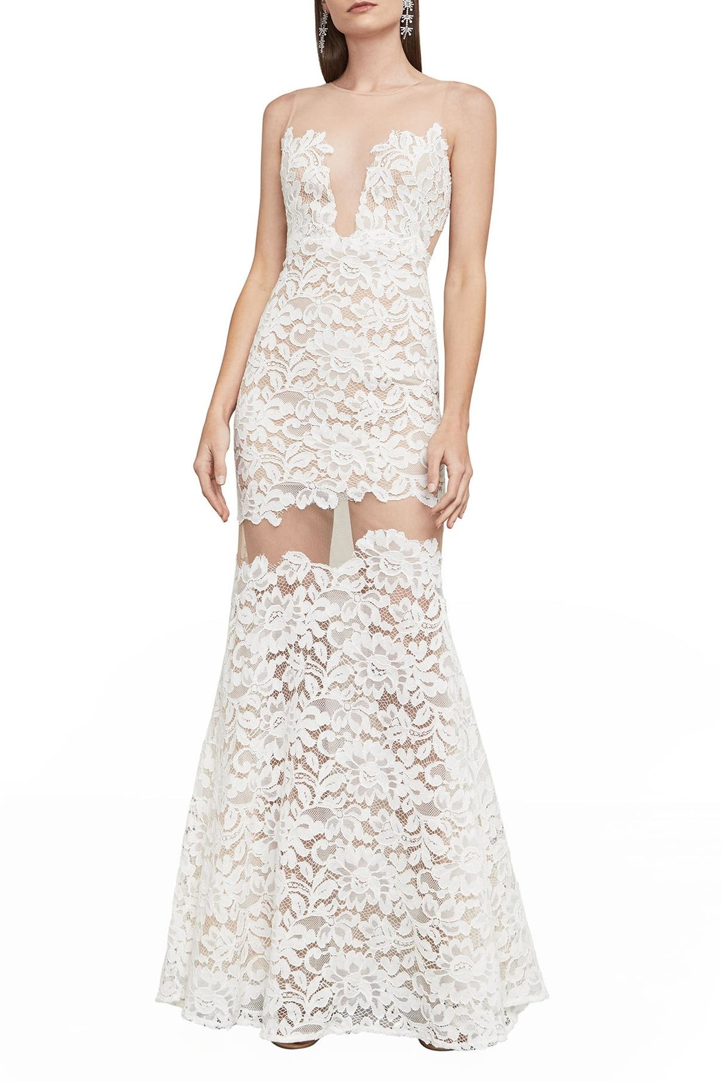 BCBG Max Azria Floral Lace Gown - Front Full Image