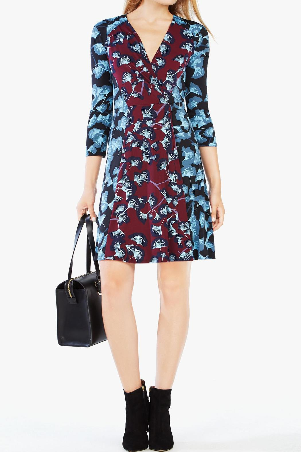 BCBG Max Azria Floral Wrap Dress - Side Cropped Image
