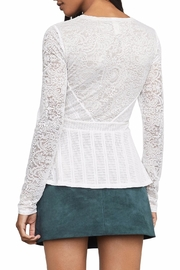 BCBG Max Azria Lace Peplum Top - Front full body