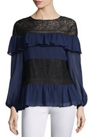 BCBG Max Azria Navy Ruffle Top - Front cropped