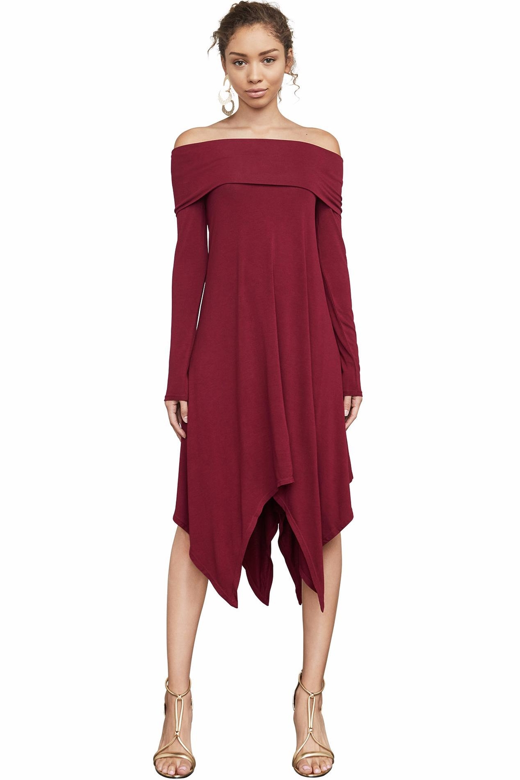 BCBG Max Azria Off-The-Shoulder Knit A-Line - Main Image