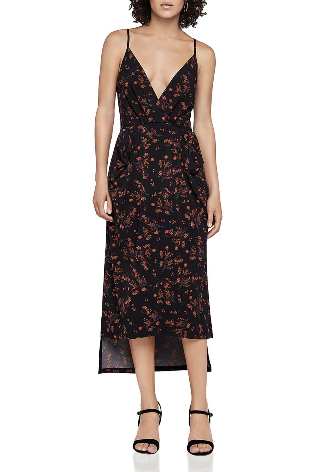 BCBGeneration Faux-Wrap Midi Dress - Front Cropped Image