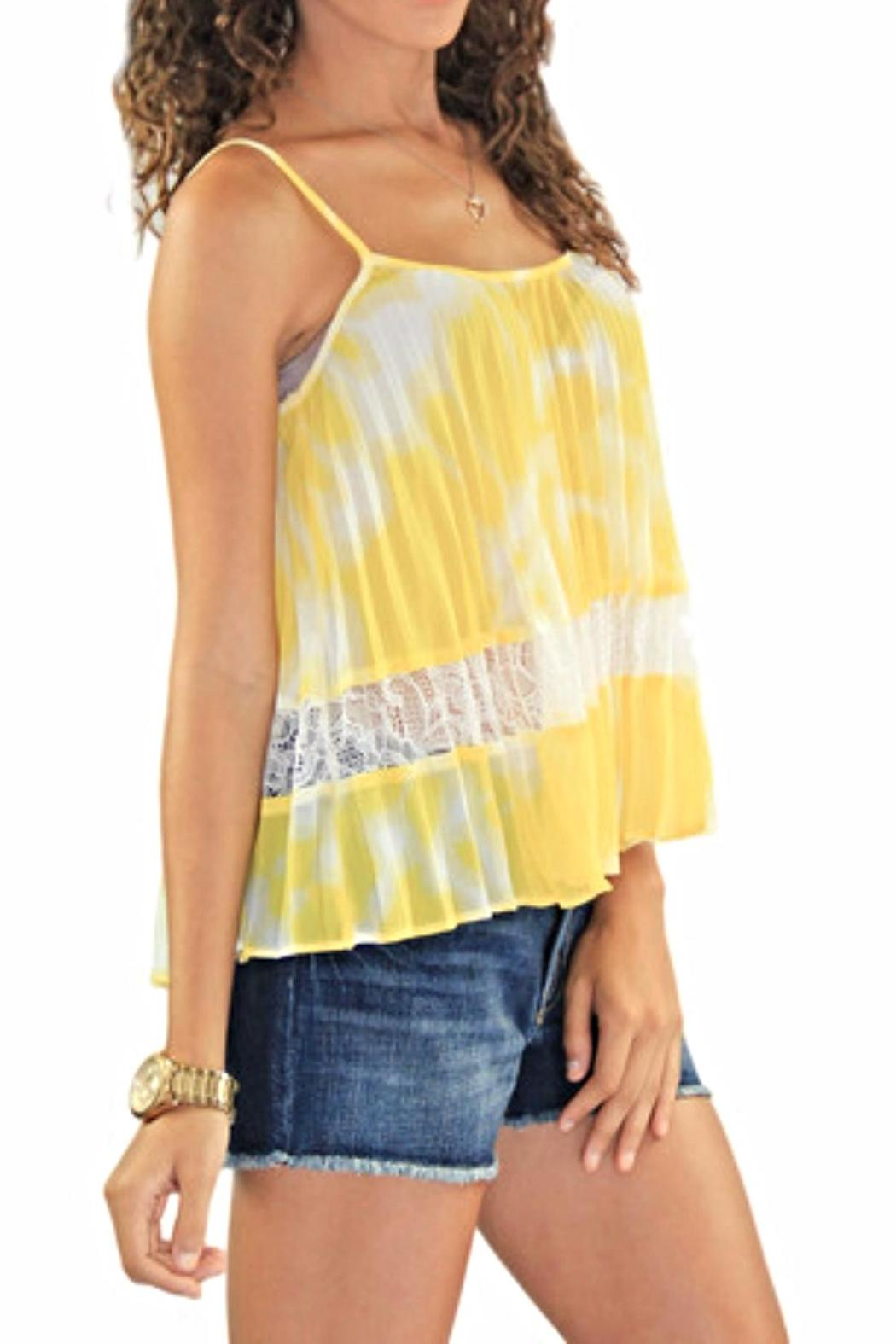 BCBGeneration Lace Pleated Tank - Front Full Image