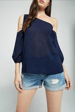 Shoptiques Product: Navy One Shoulder Top