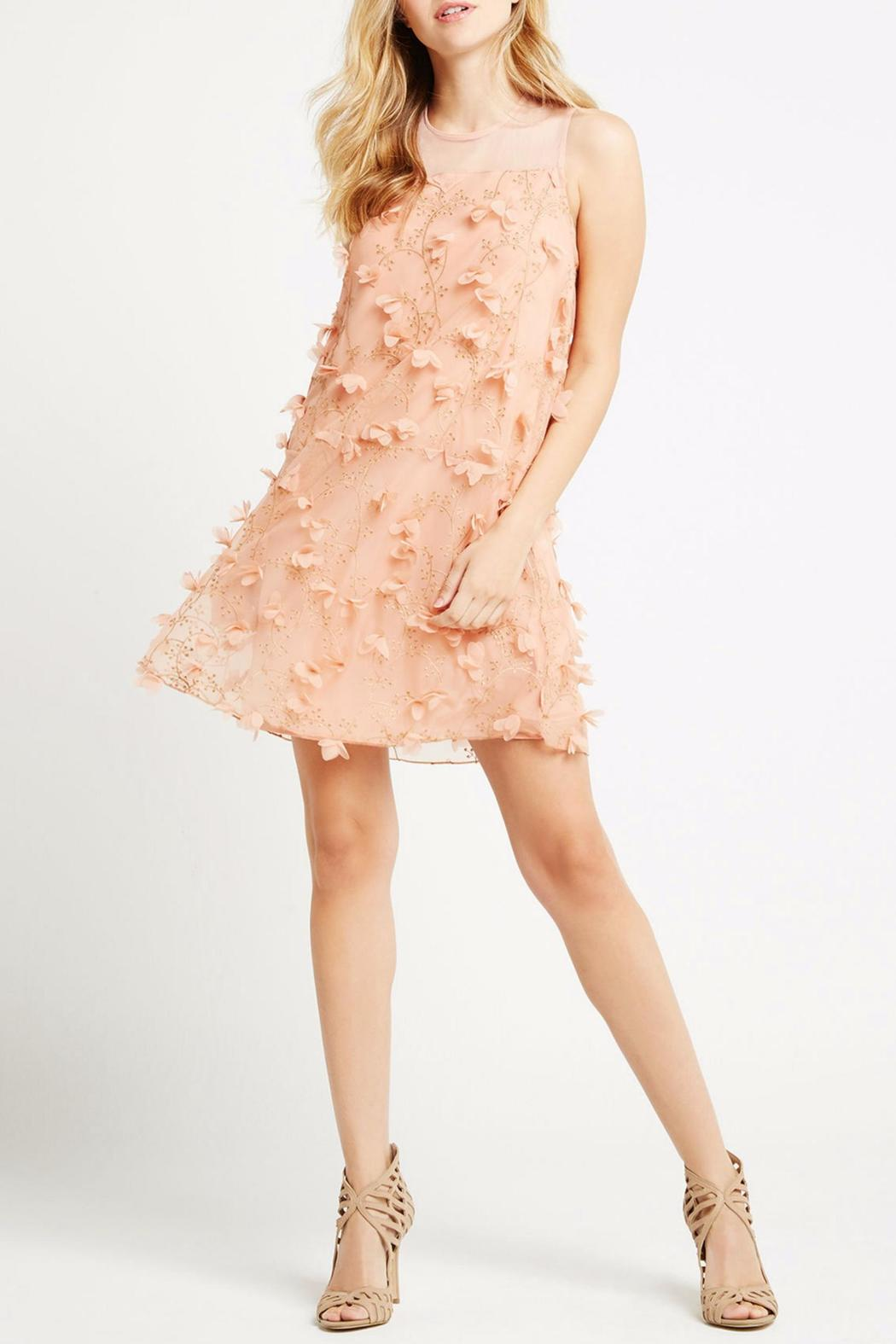 BCBGeneration Peach Combo Dress - Front Cropped Image