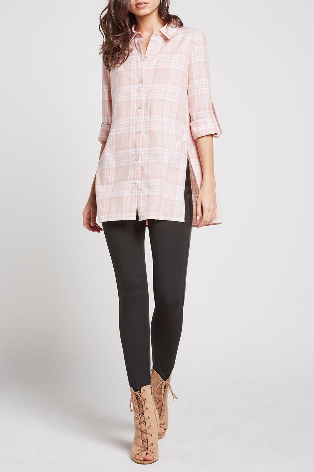 BCBGeneration Plaid Button Up Tunic - Front Cropped Image