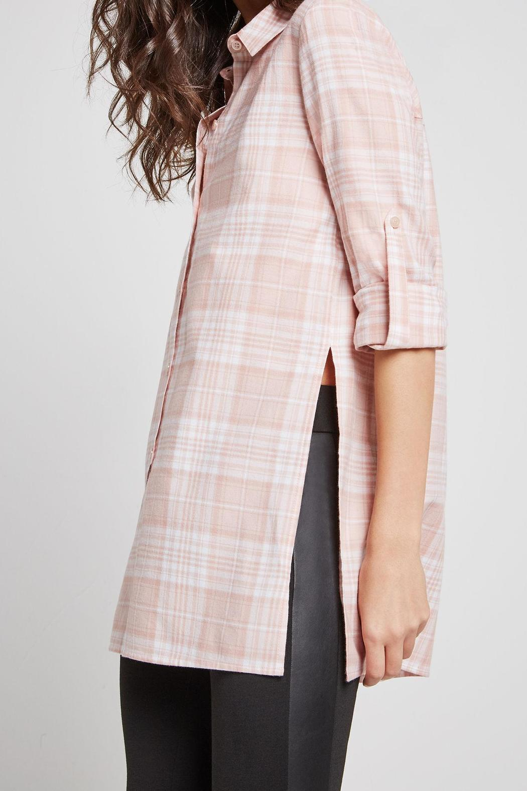 BCBGeneration Plaid Button Up Tunic - Side Cropped Image