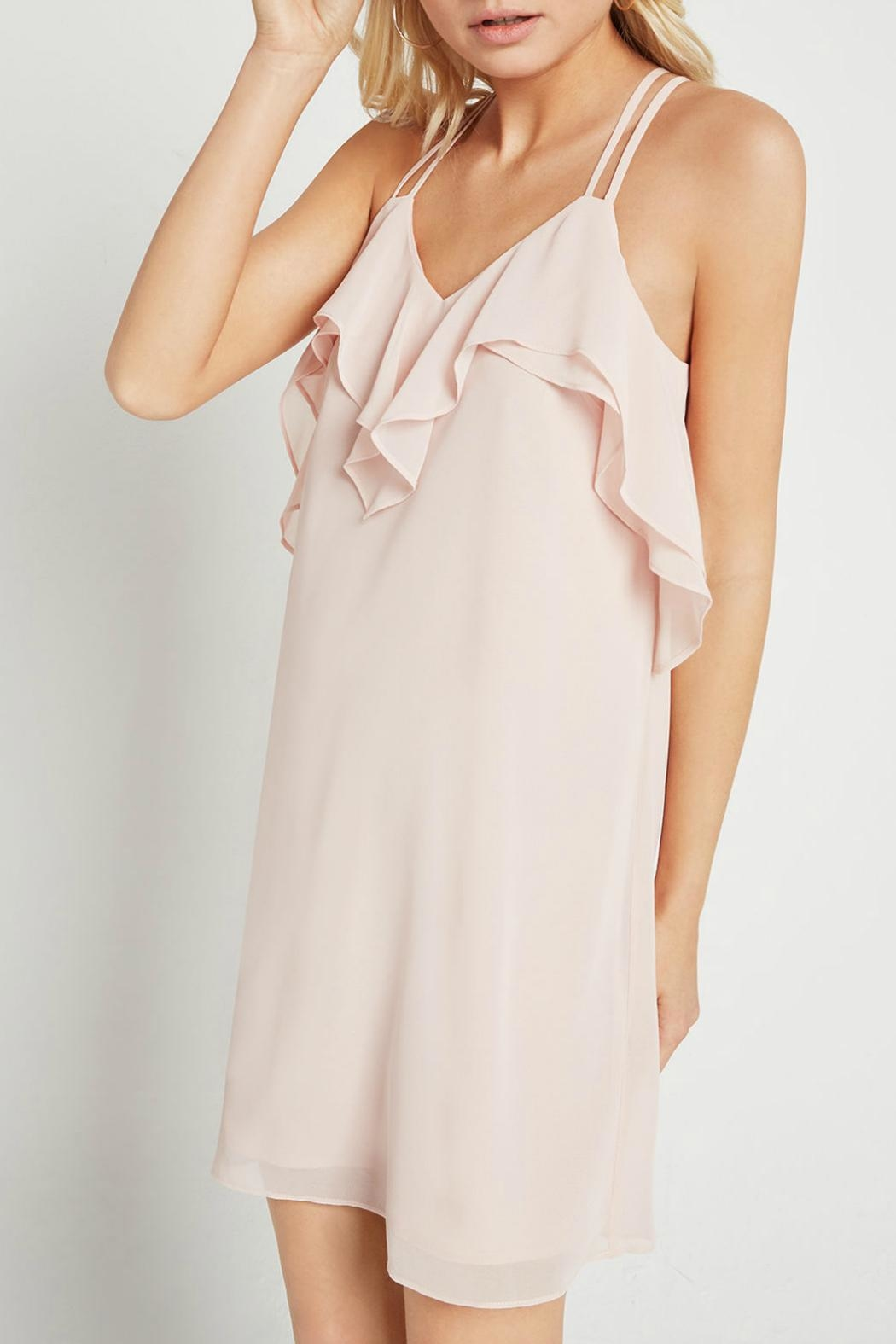 BCBGeneration Ruffle Pink Dress - Front Full Image