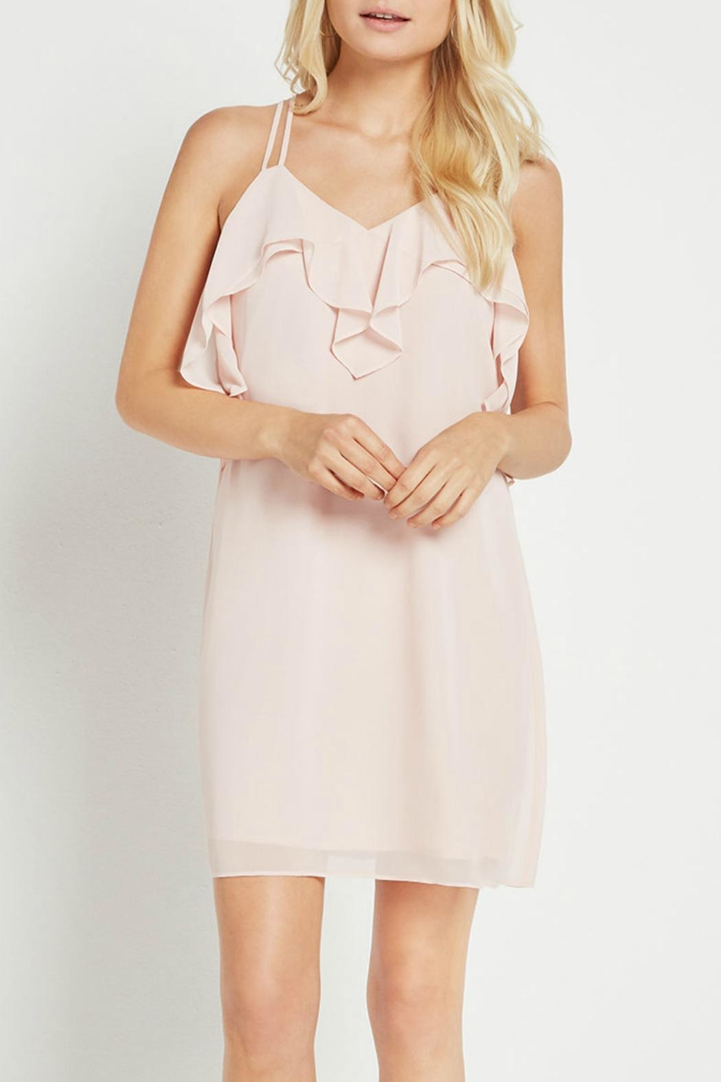 BCBGeneration Ruffle Pink Dress - Front Cropped Image