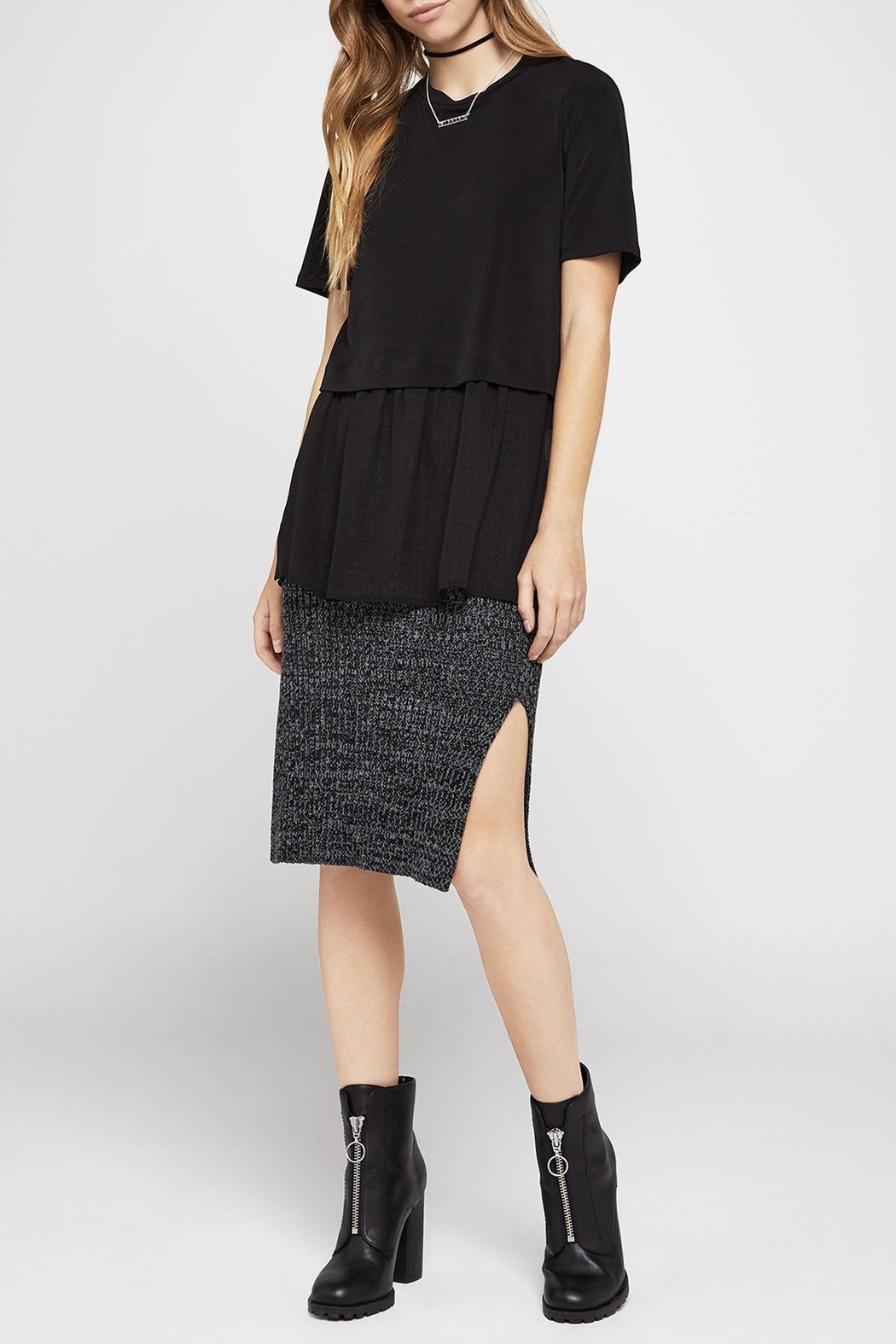 BCBGeneration Short-Sleeve Mixed-Media Top - Front Cropped Image