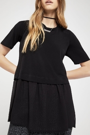 BCBGeneration Short-Sleeve Mixed-Media Top - Front full body