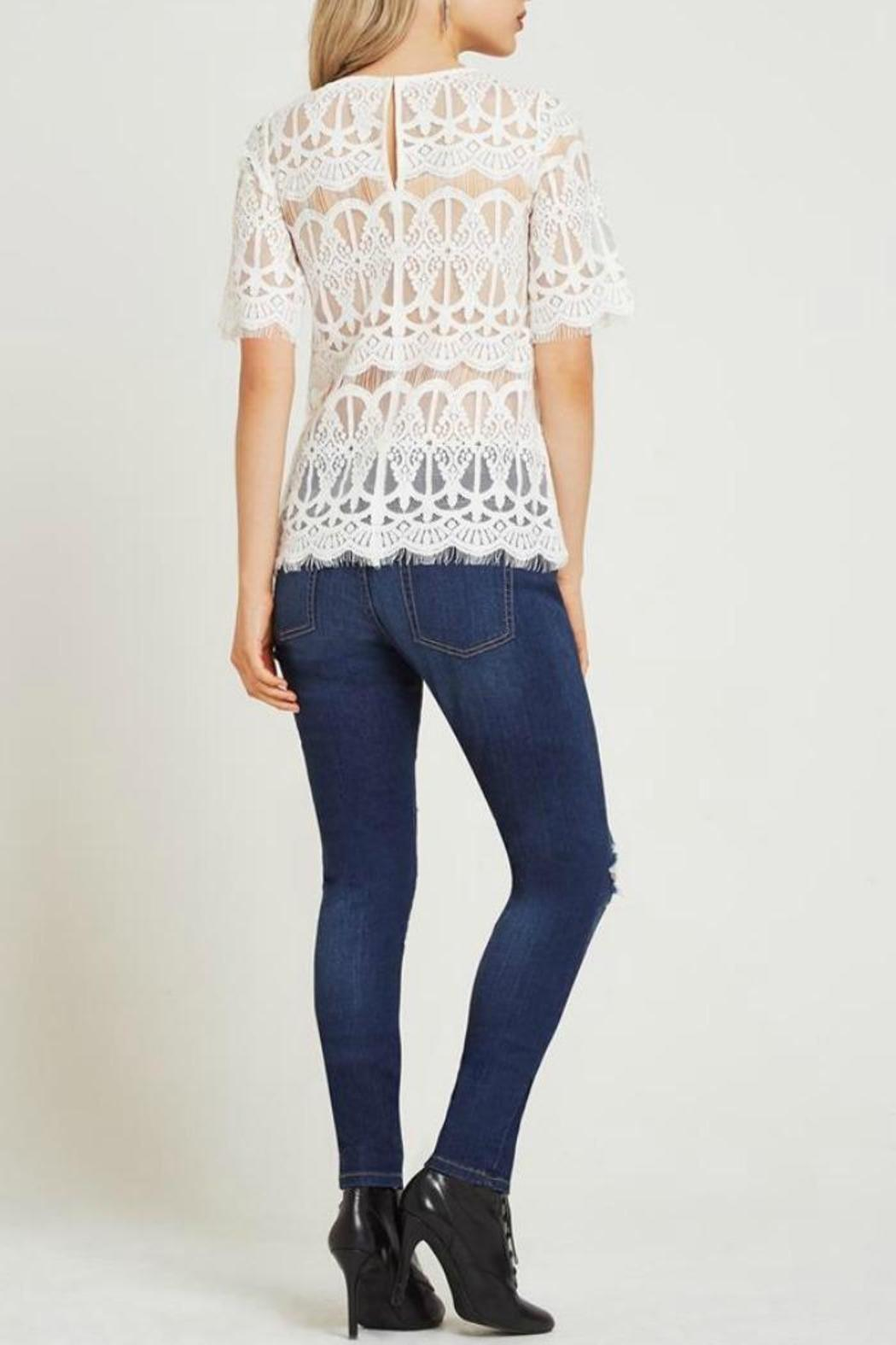 BCBGeneration White Lace Top - Front Full Image