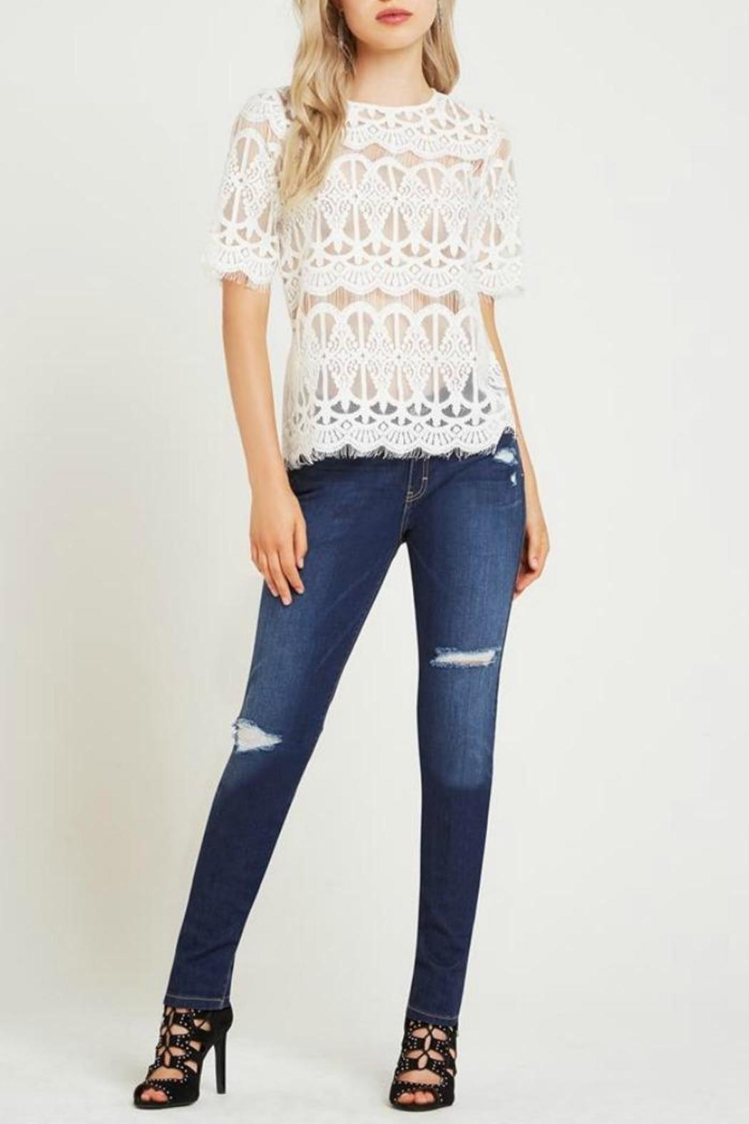 BCBGeneration White Lace Top - Front Cropped Image