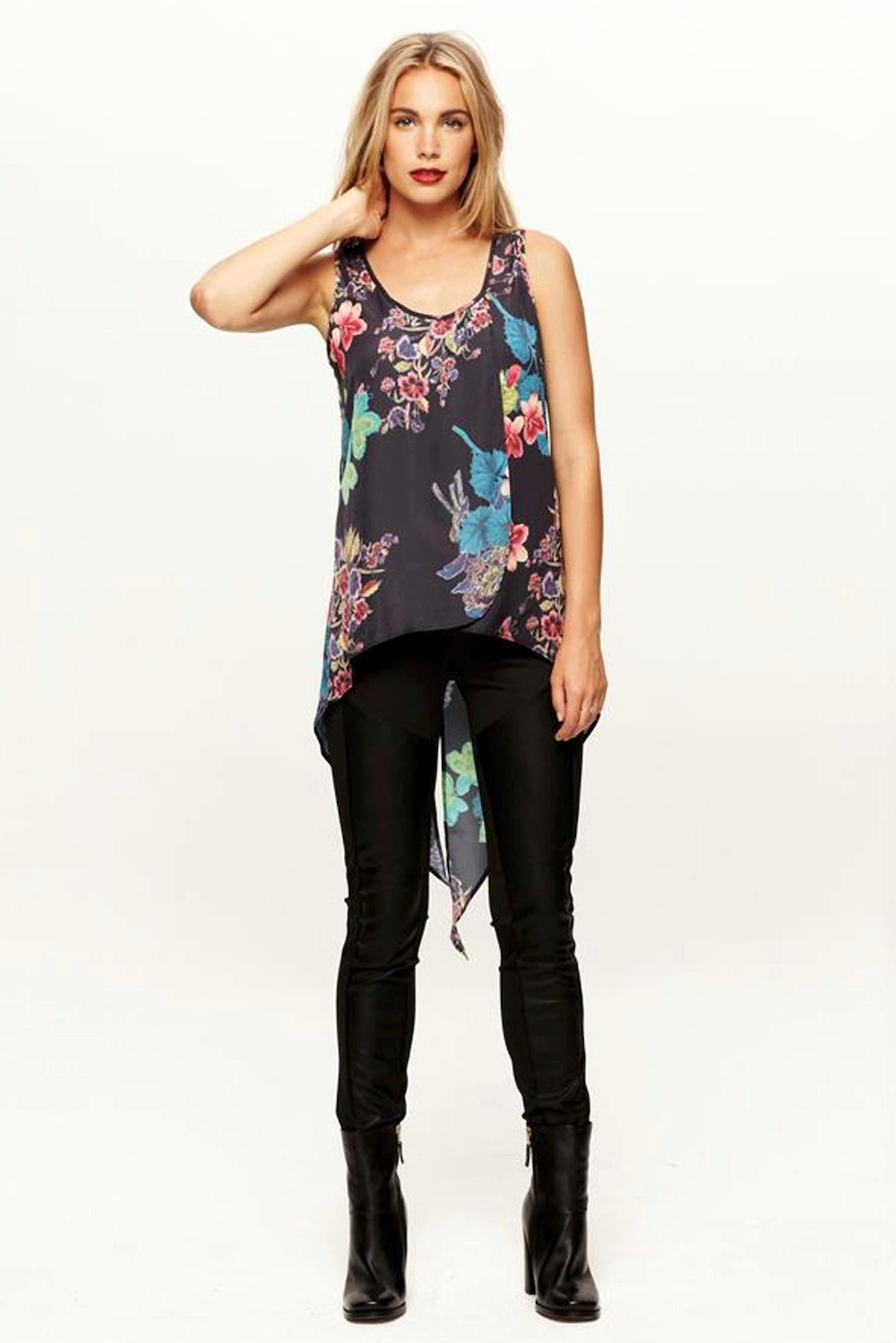 Pink Stitch Wanderer Layer Tank - Front Cropped Image