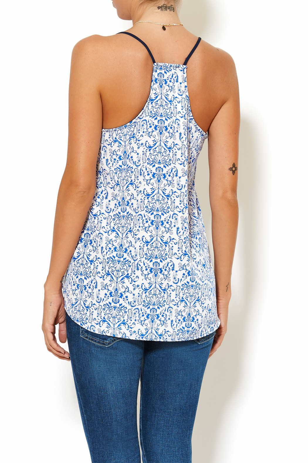 Chic Style Floral Resort Cami - Back Cropped Image
