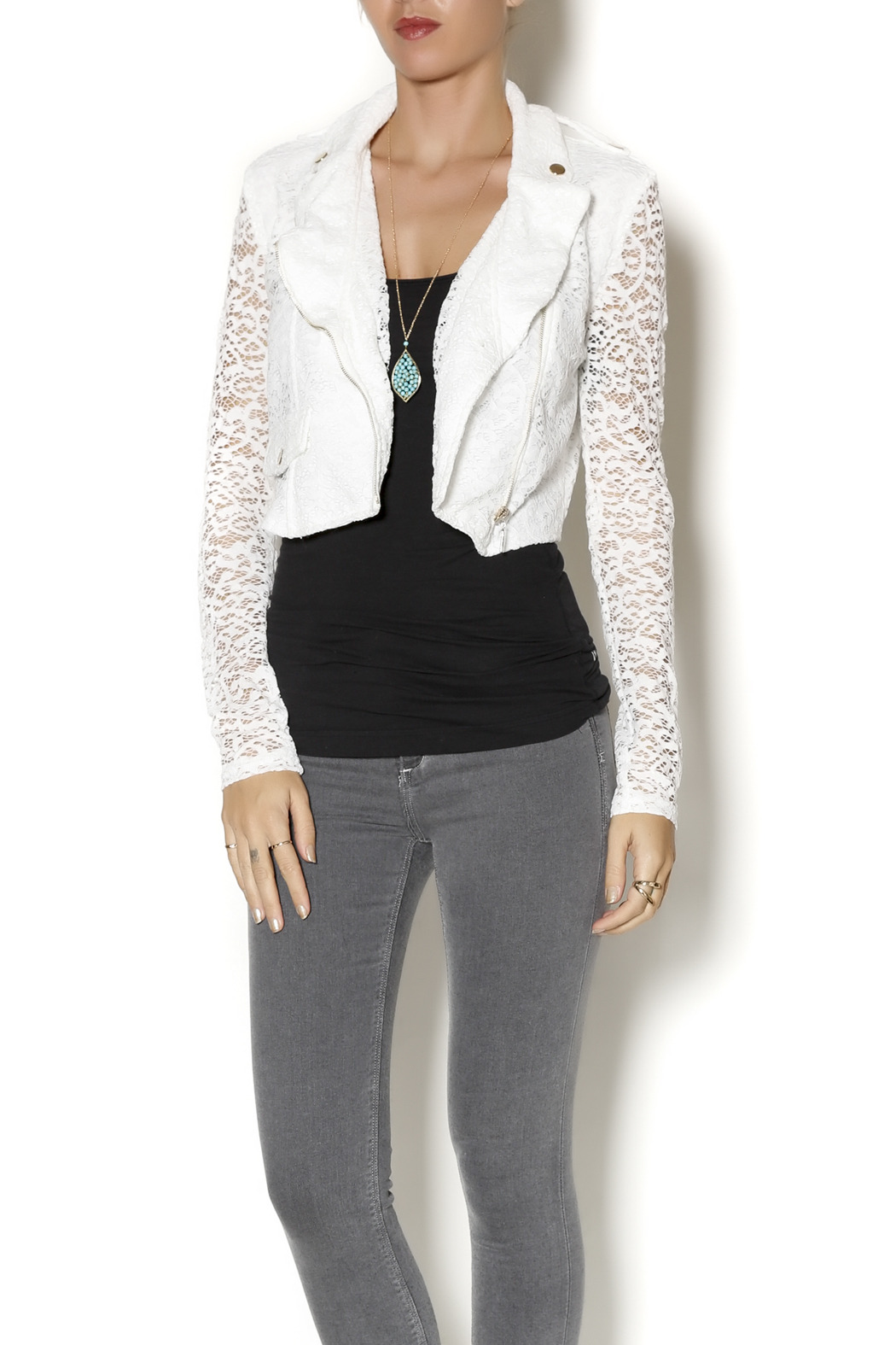 Active Lace Moto Jacket - Front Cropped Image
