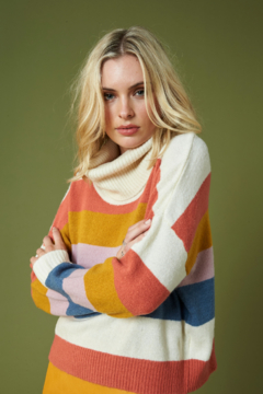MinkPink Be Bold Stripe Turtleneck Sweater - Alternate List Image