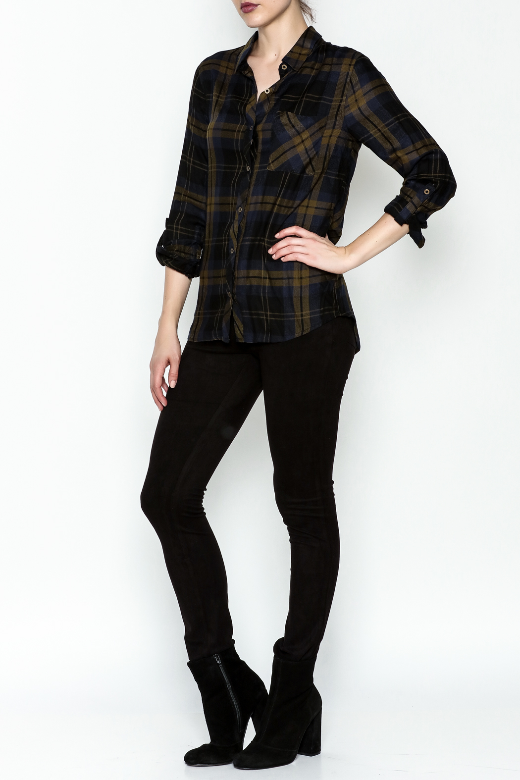 Be Cool Navy Plaid Shirt - Side Cropped Image