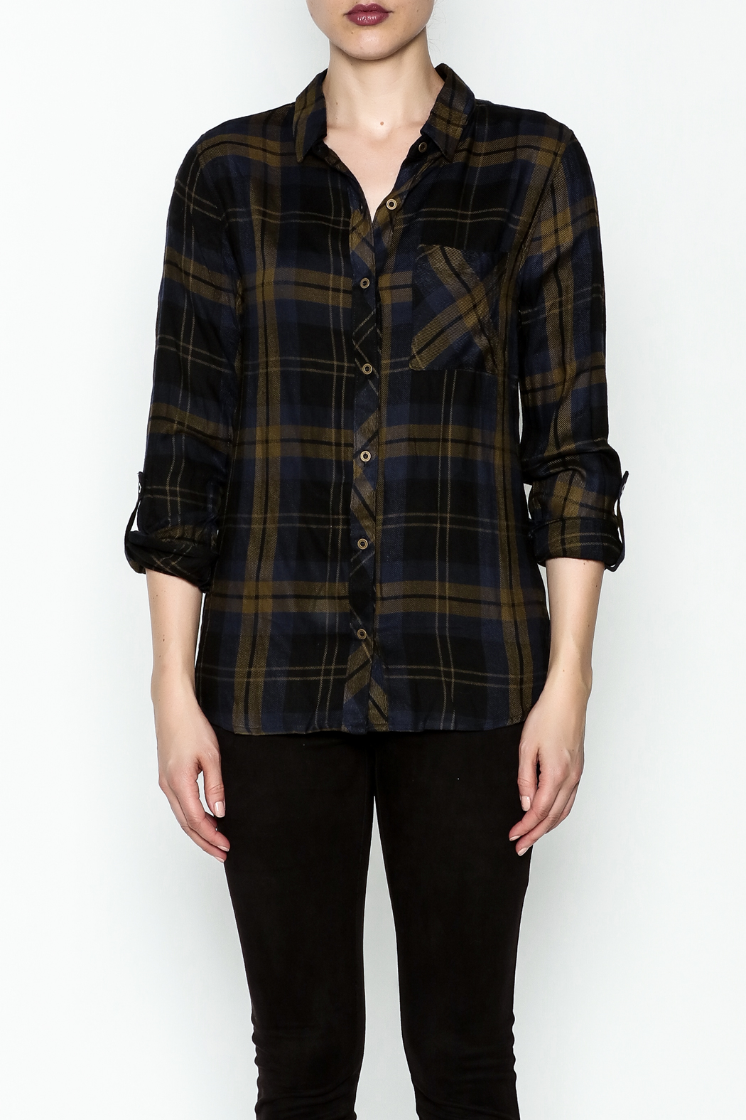 Be Cool Navy Plaid Shirt - Front Full Image