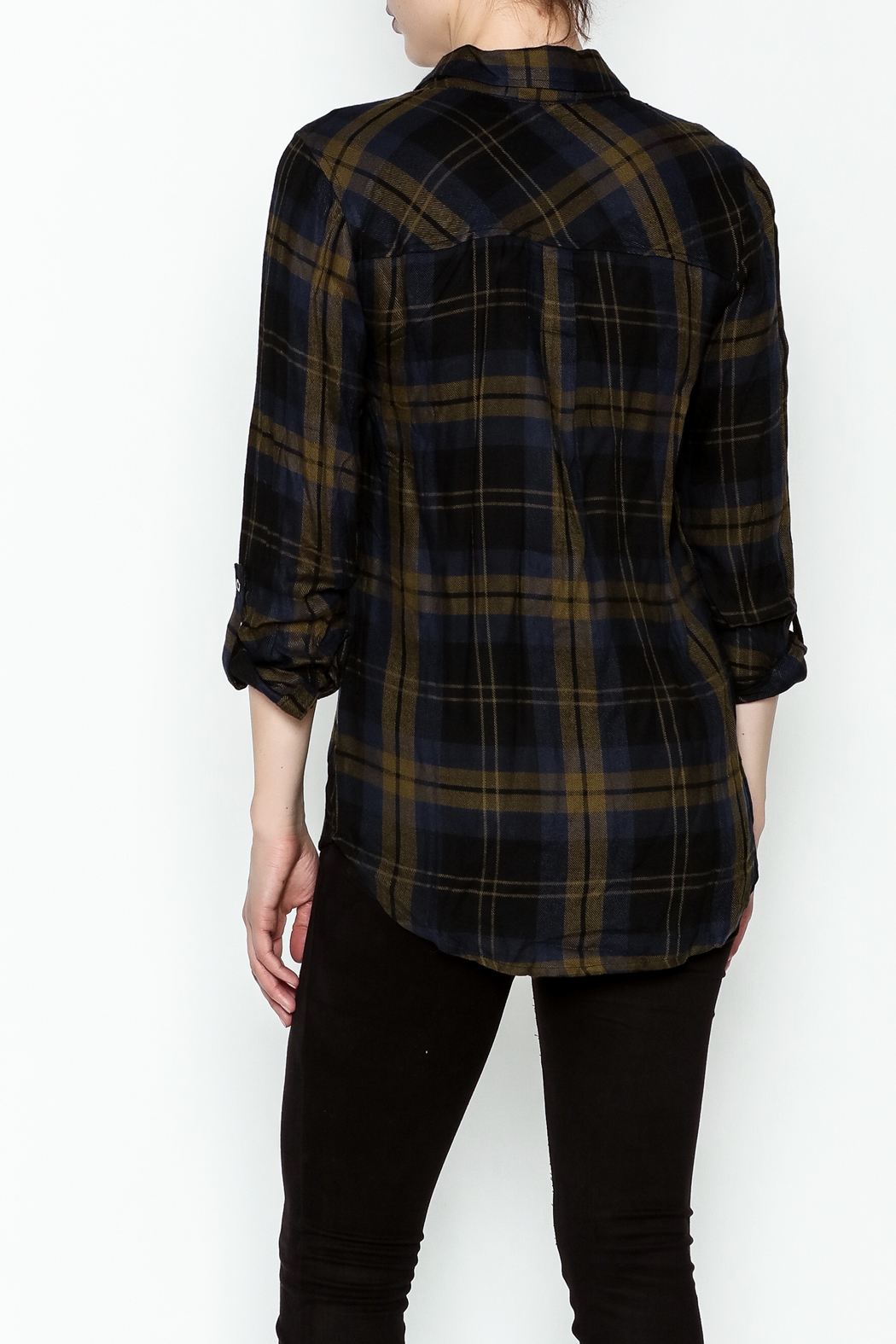 Be Cool Navy Plaid Shirt - Back Cropped Image