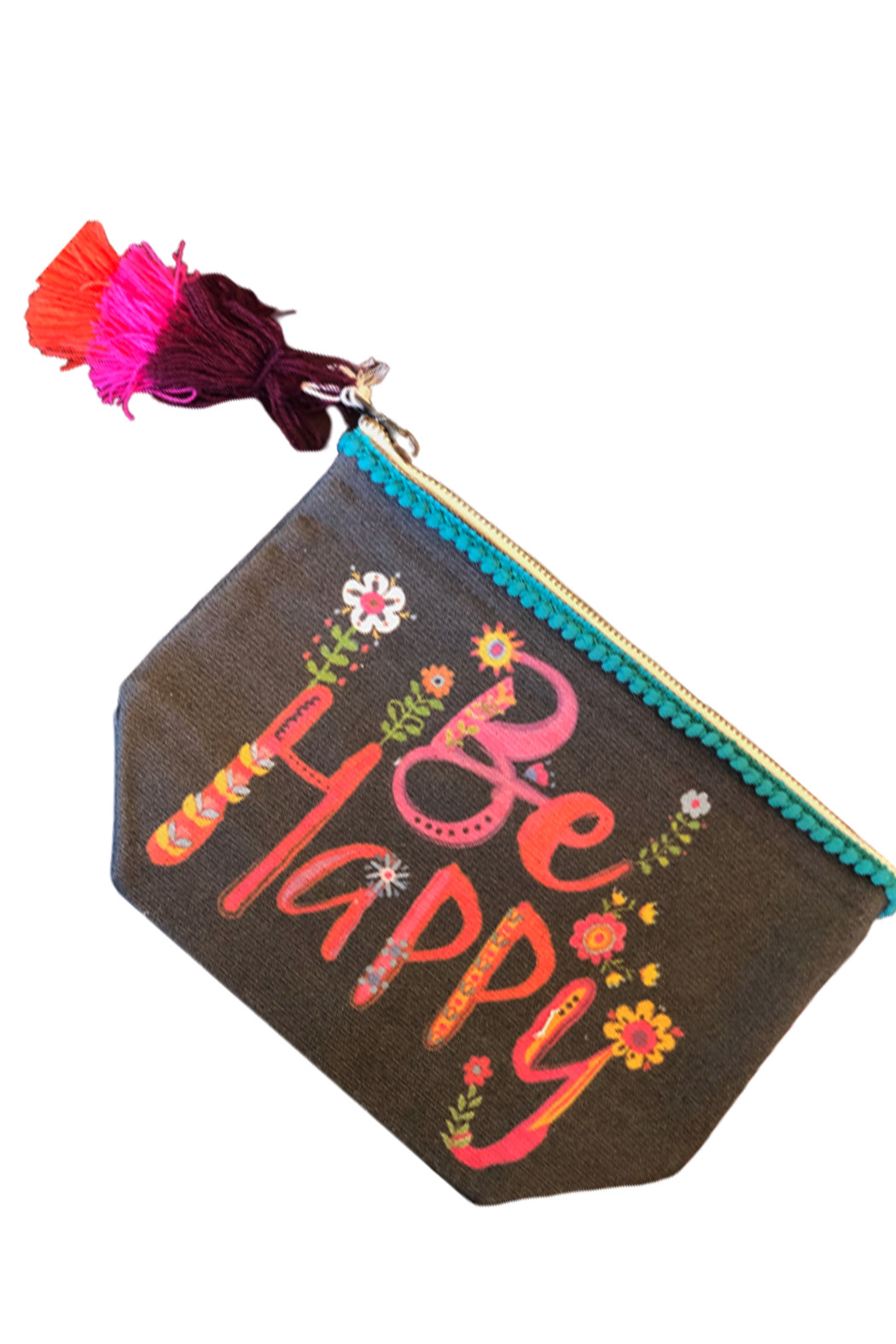 Natural Life Be Happy Canvas Pouch - Main Image