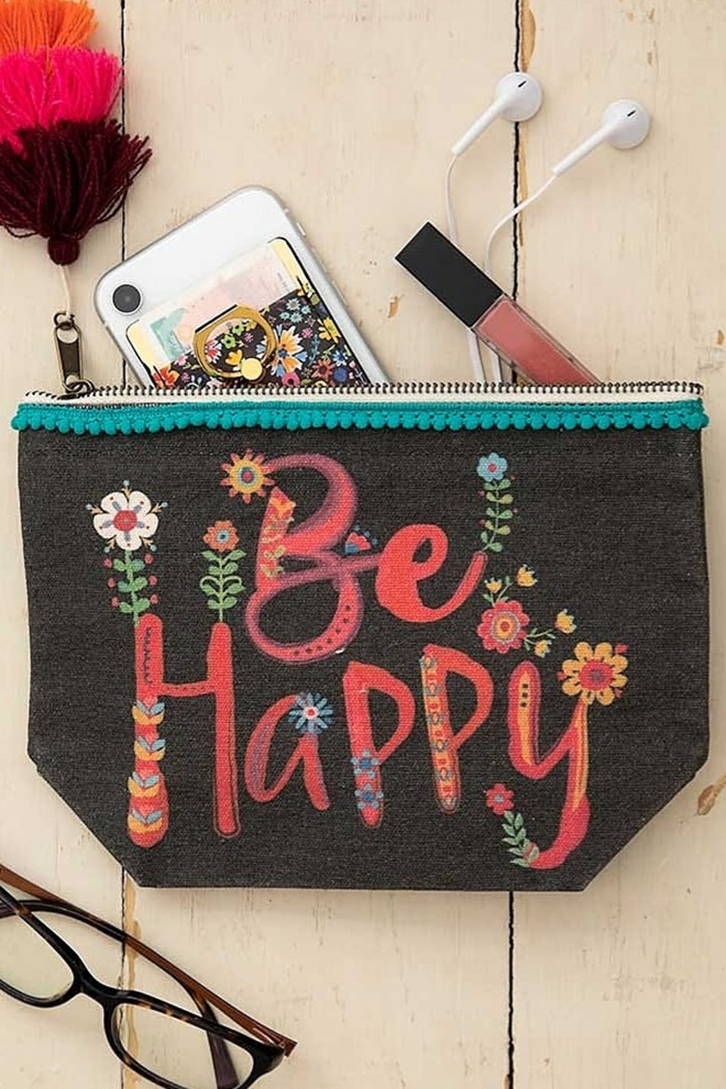 Natural Life Be Happy Canvas Pouch - Front Full Image