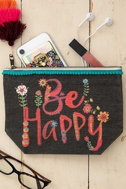 Natural Life Be Happy Canvas Pouch - Front full body