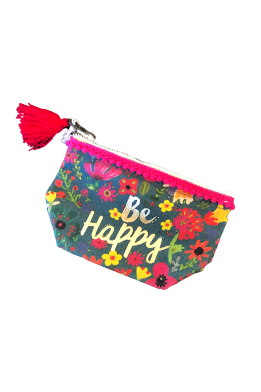 Natural Life Be Happy Mini Canvas Pouch - Main Image