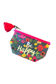 Natural Life Be Happy Mini Canvas Pouch - Front cropped
