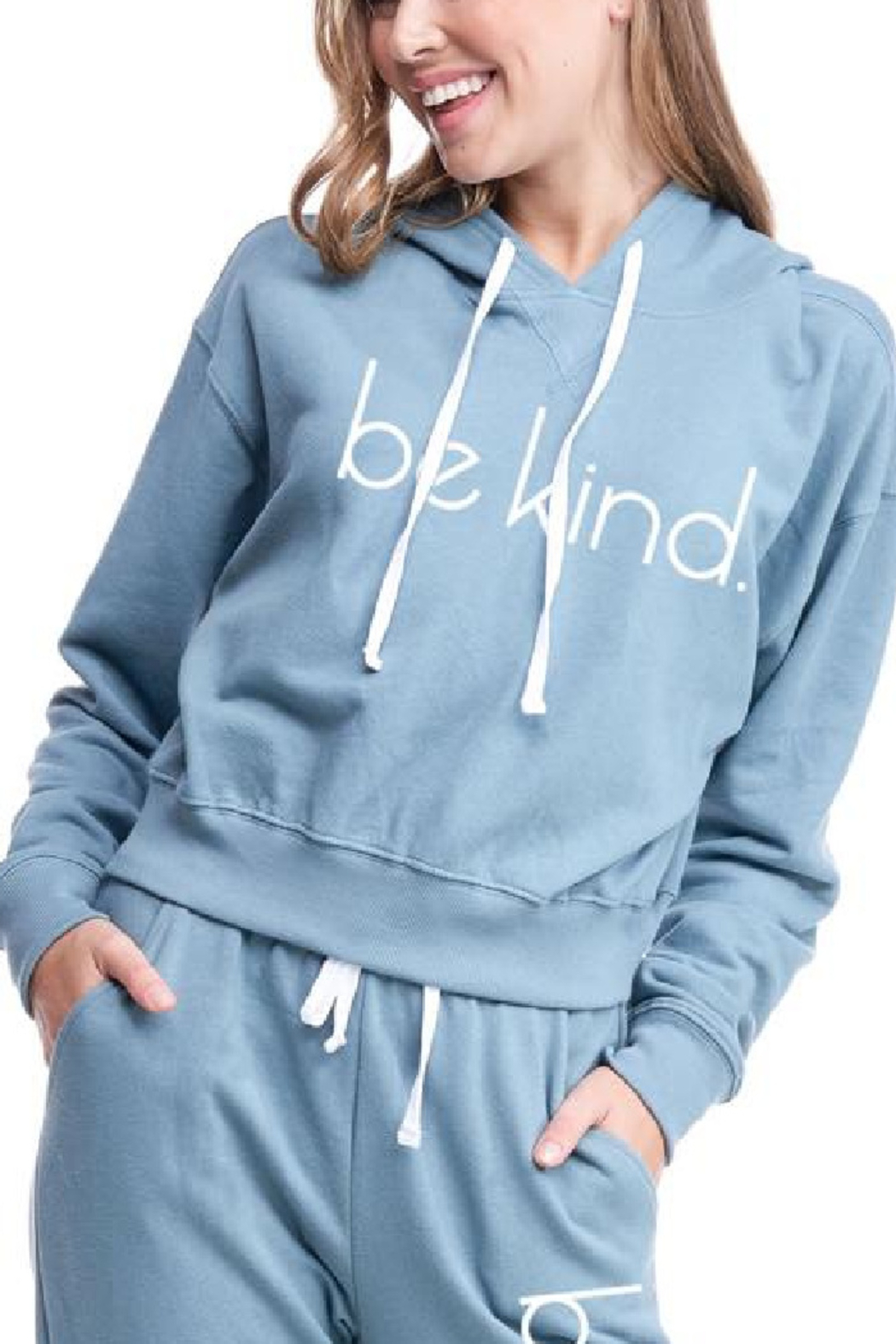 Lyn -Maree's be kind. Graphic Hoodie - Main Image