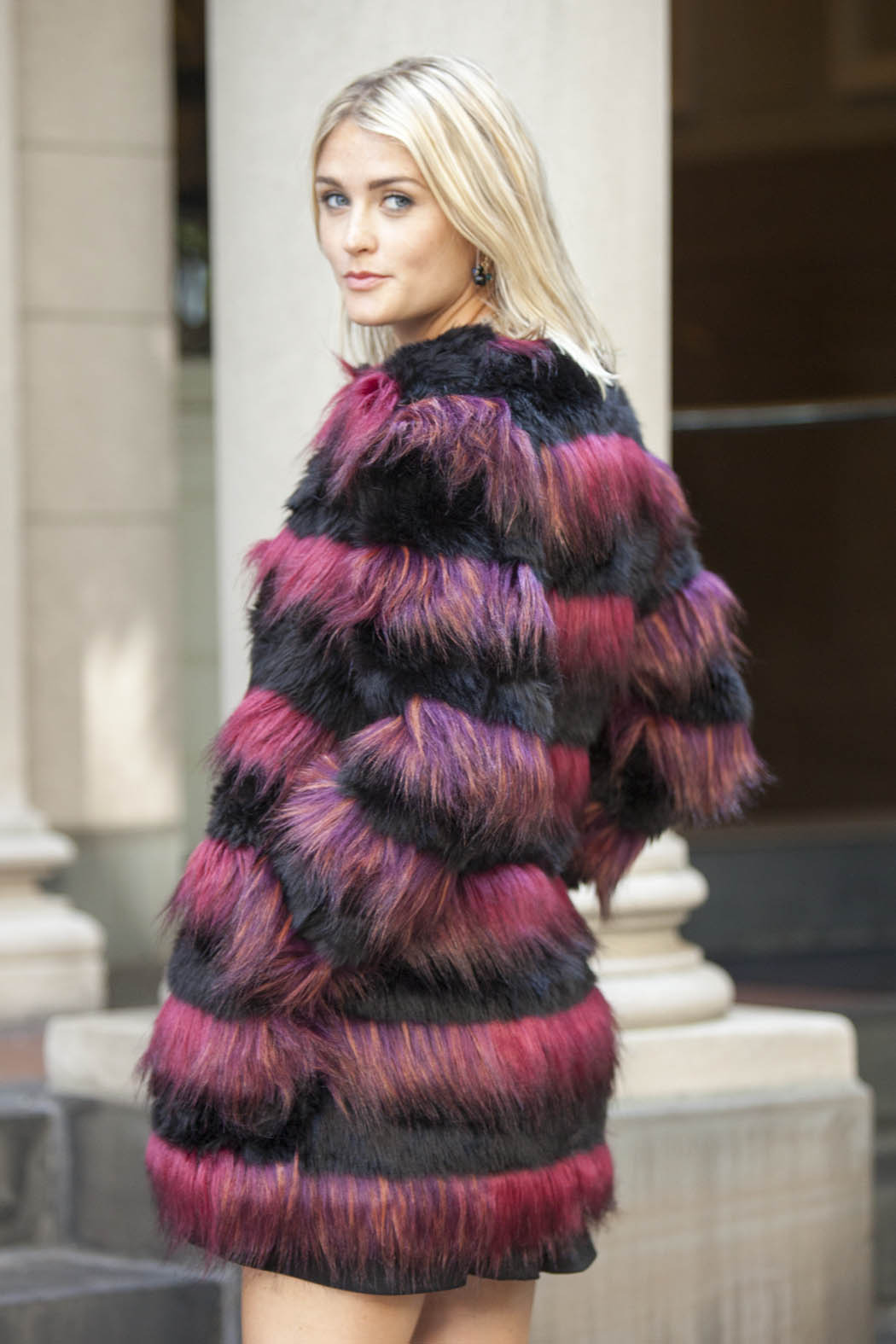 Derhy Striped Fur Coat - Back Cropped Image
