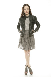 Members Only Basic Leather Jacket - Front full body