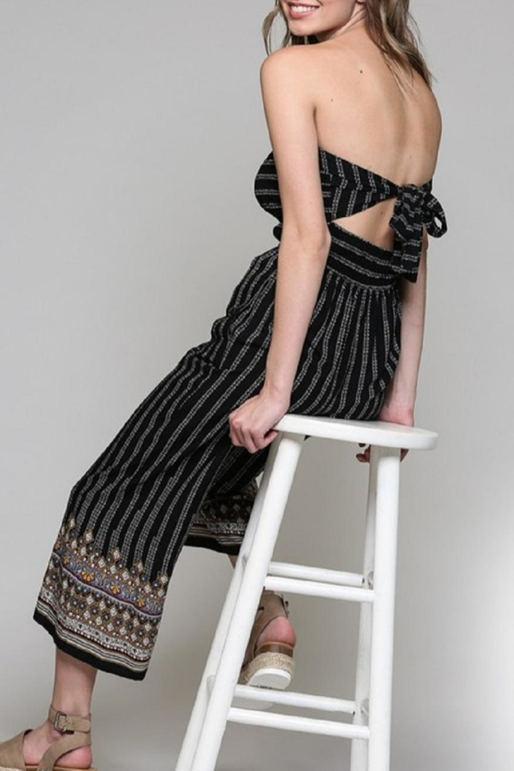 Be Cool Alice Tie-Back Jumpsuit - Back Cropped Image