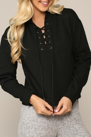Be Cool Cropped Lace-Tie Hoodie - Product Mini Image