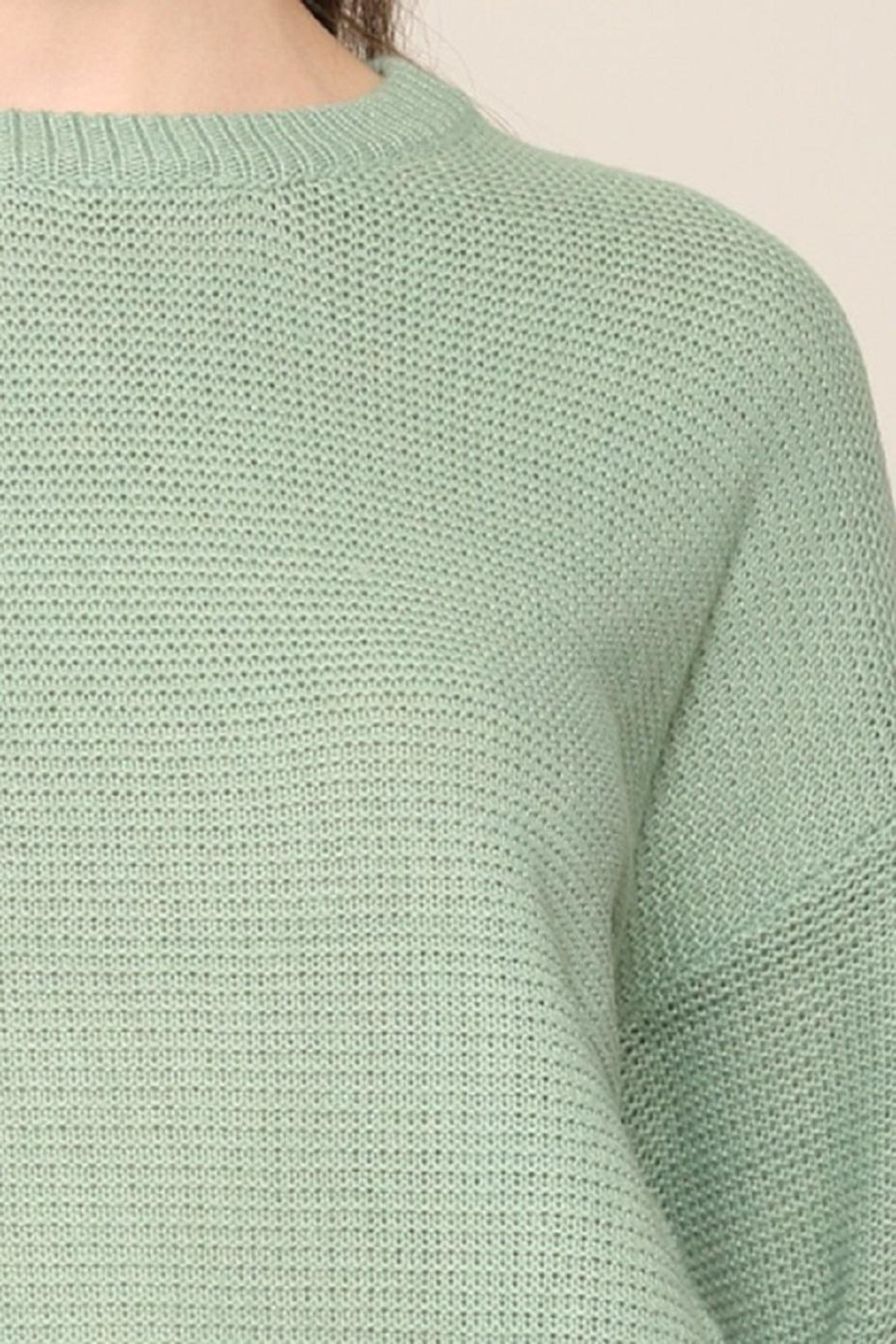 Be Cool Mint Boyfriend-Fit Sweater - Back Cropped Image