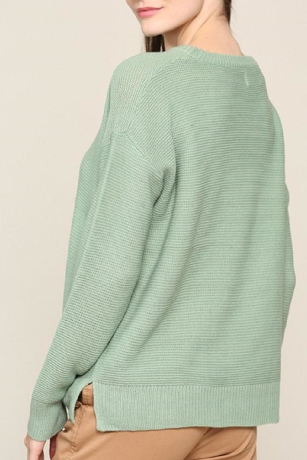 Be Cool Mint Boyfriend-Fit Sweater - Side Cropped Image