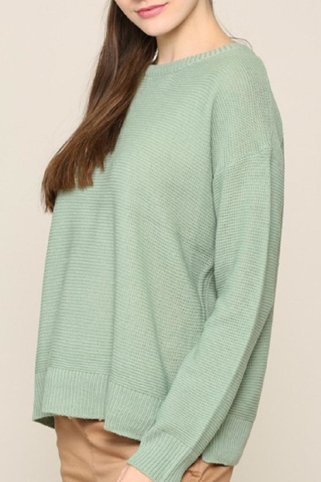 Be Cool Mint Boyfriend-Fit Sweater - Front Full Image