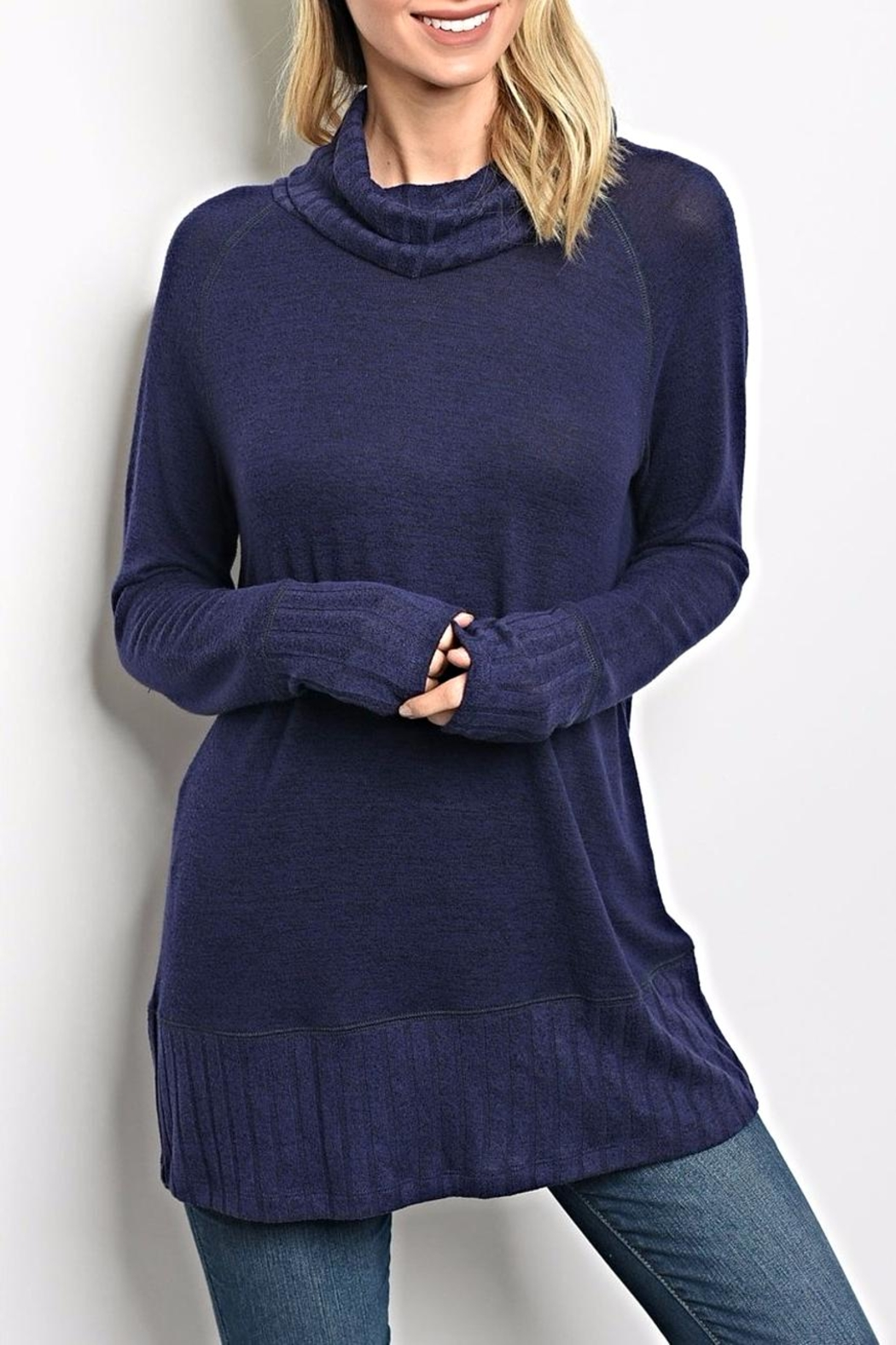 Be Cool Navy Turtleneck Sweater - Main Image
