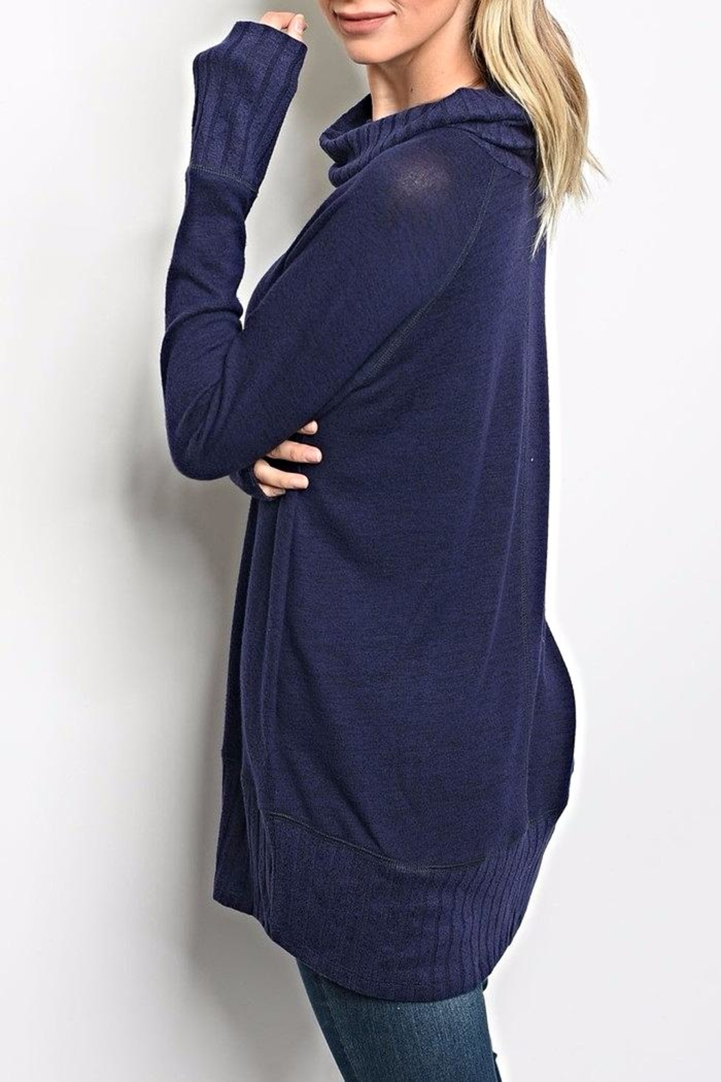 Be Cool Navy Turtleneck Sweater - Front Full Image