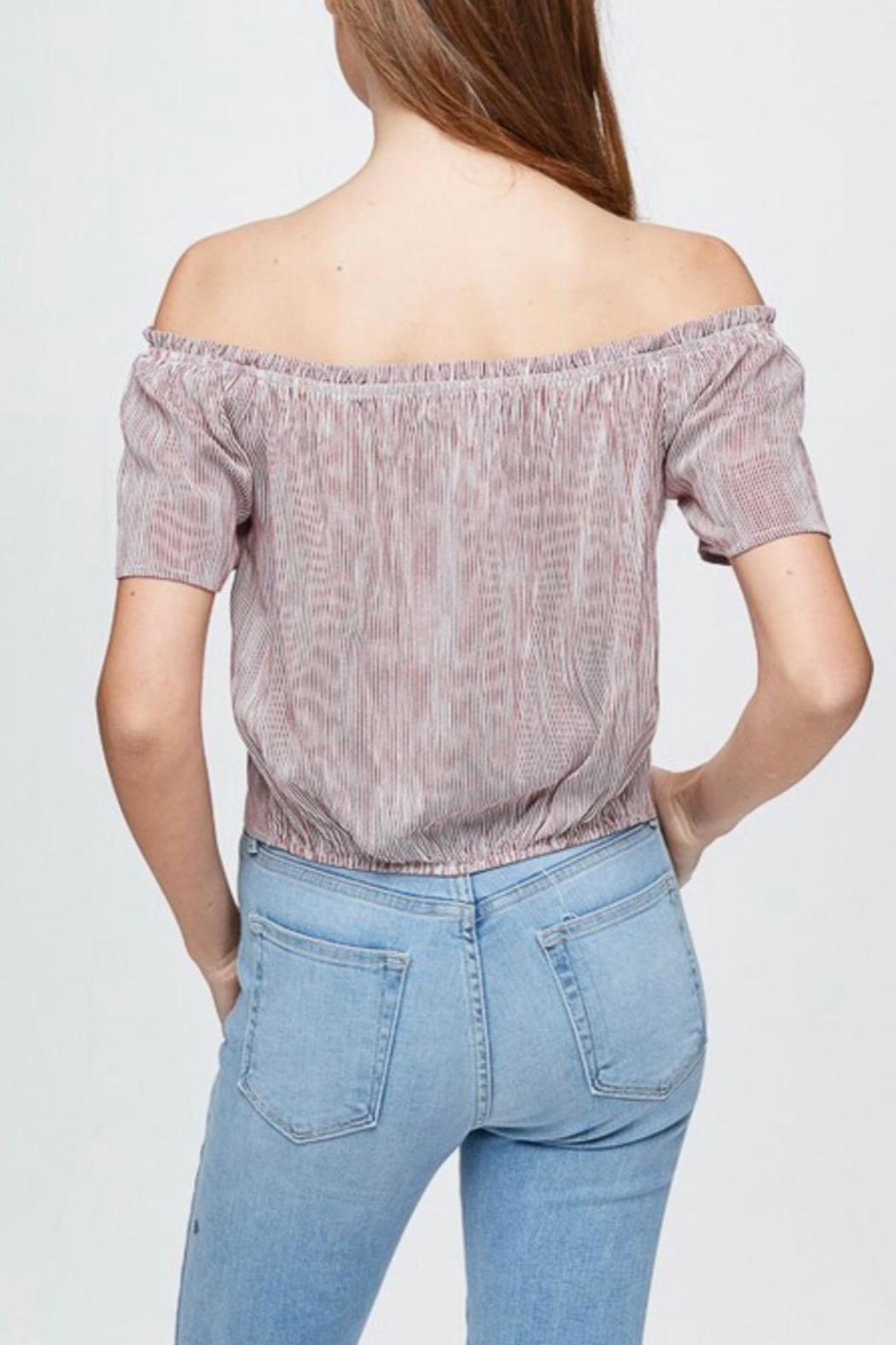 Be Cool Off-Shoulder Embroidery Top - Back Cropped Image