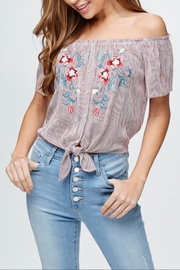 Be Cool Off-Shoulder Embroidery Top - Side cropped