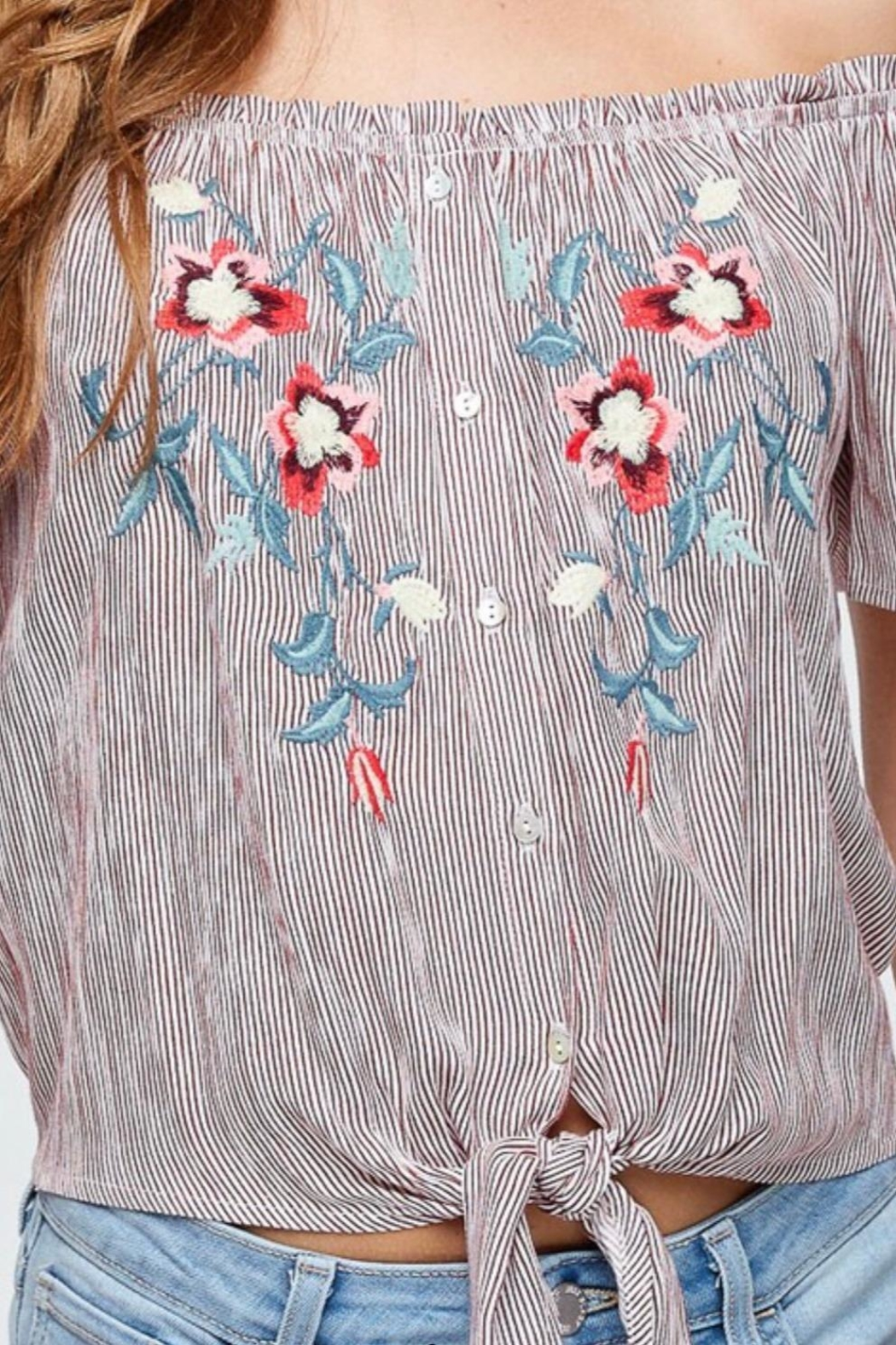 Be Cool Off-Shoulder Embroidery Top - Front Full Image