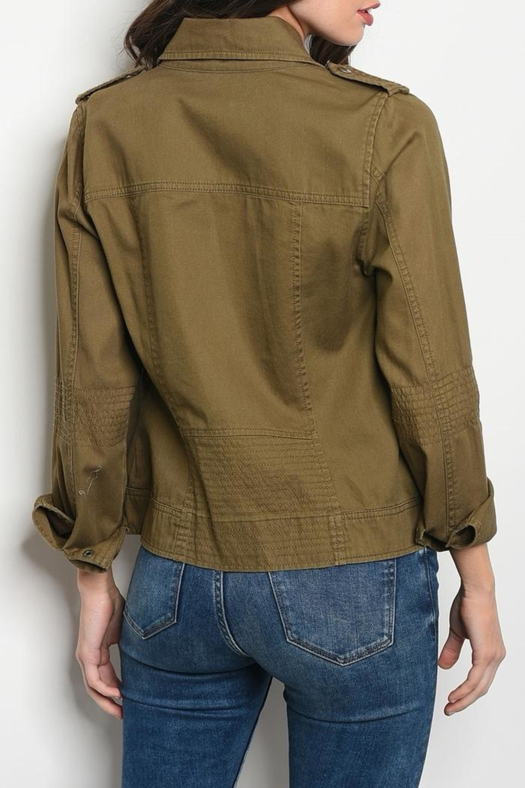 Be Cool Olive Jacket - Front Full Image
