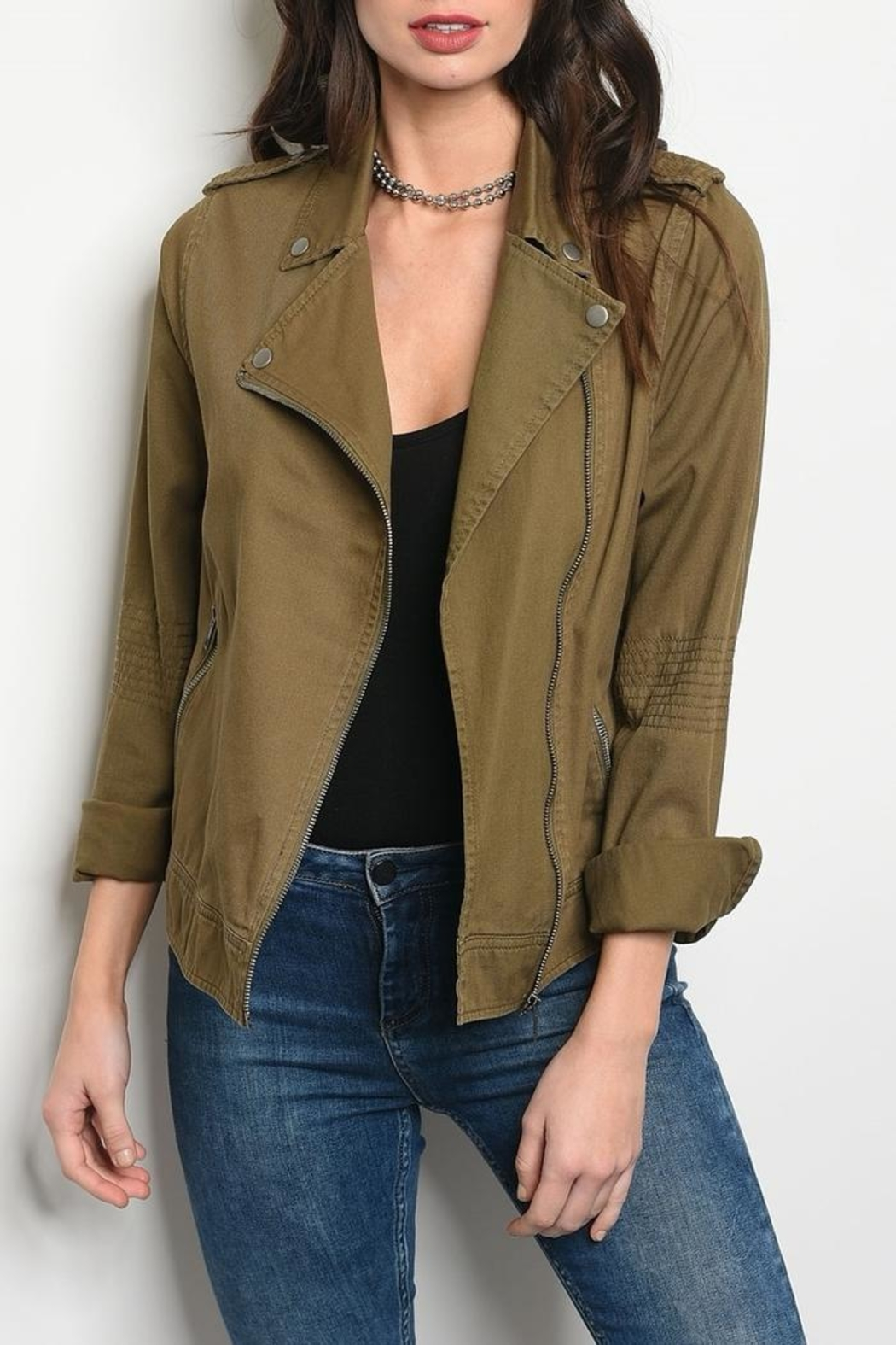 Be Cool Olive Jacket - Front Cropped Image